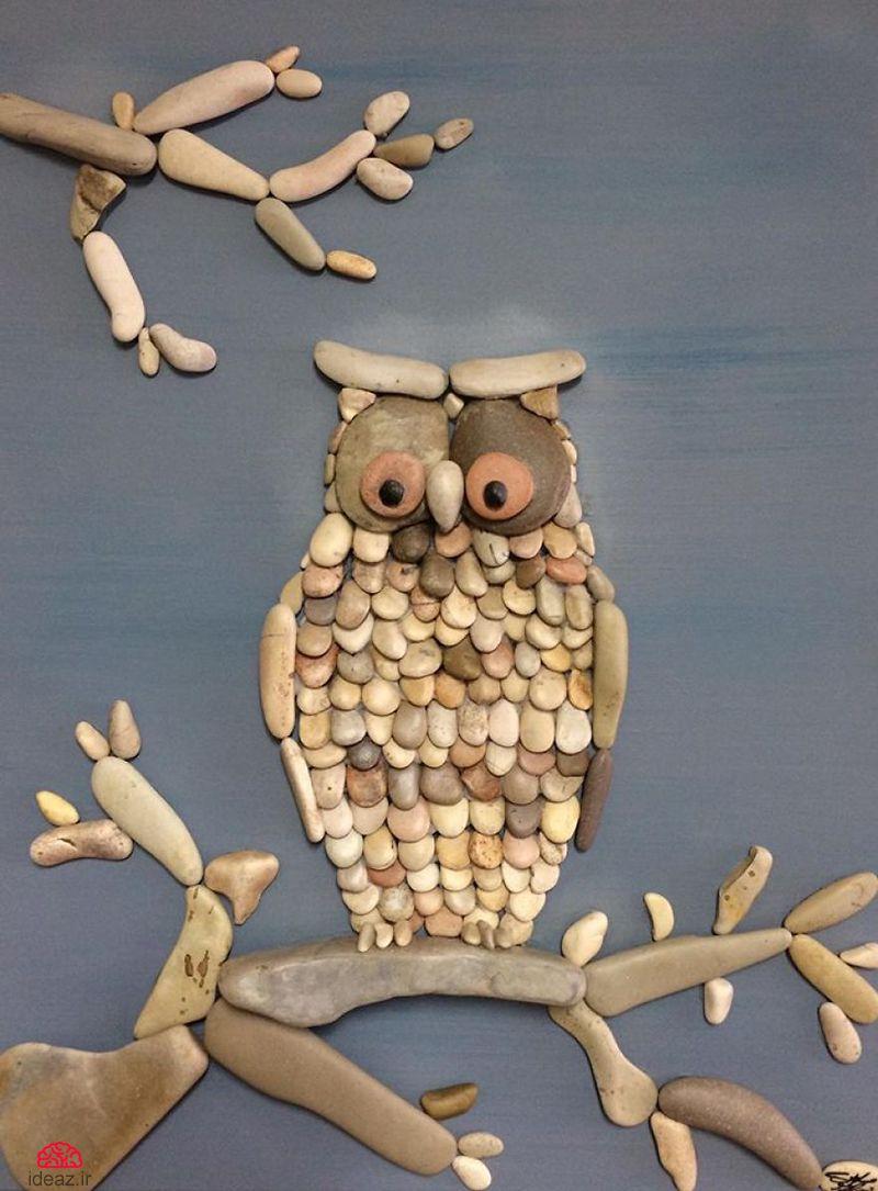 آیدیاز - تابلوهای خلاقانه با سنگهای کنار دریا