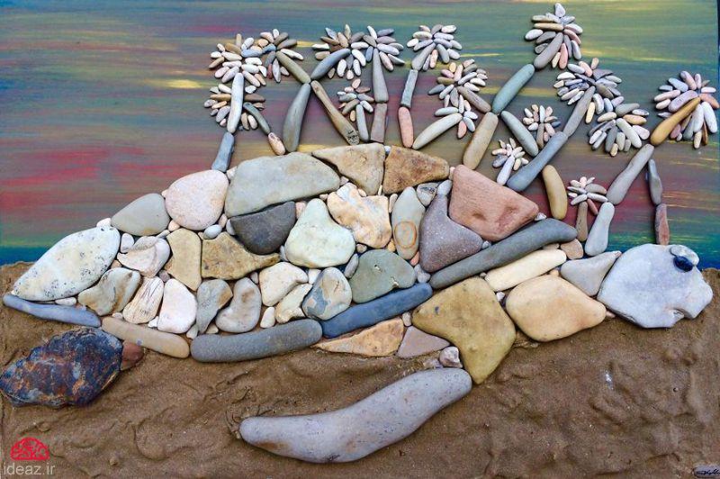 تابلوهای خلاقانه با سنگهای کنار دریا (کاردستی - DIY)